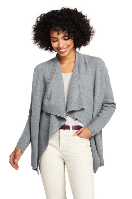 Women's Tall Boucle Waterfall Cardigan Sweater