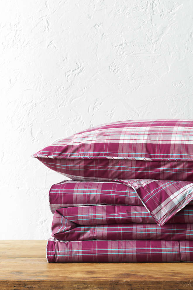 Percale Plaid Comforter, Front