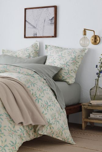 Organic Flannel Print Duvet Cover And Sham From Lands End
