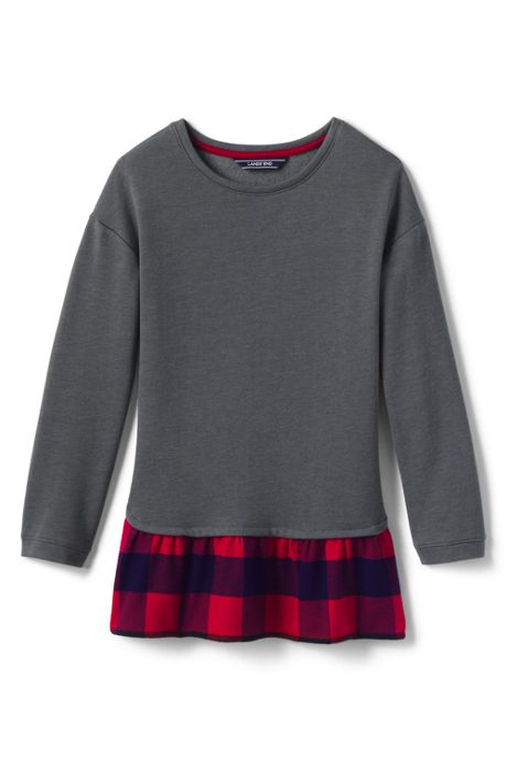 Little Girls Layered Sweatshirt Tunic Top