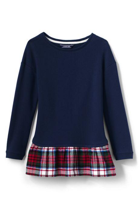 School Uniform Little Girls Layered Sweatshirt Tunic Top