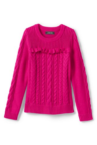 Girls' Cable and Frill Jumper