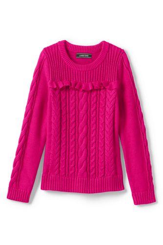 Zopfmuster-Pullover DRIFTER mit Rüschen für große Mädchen