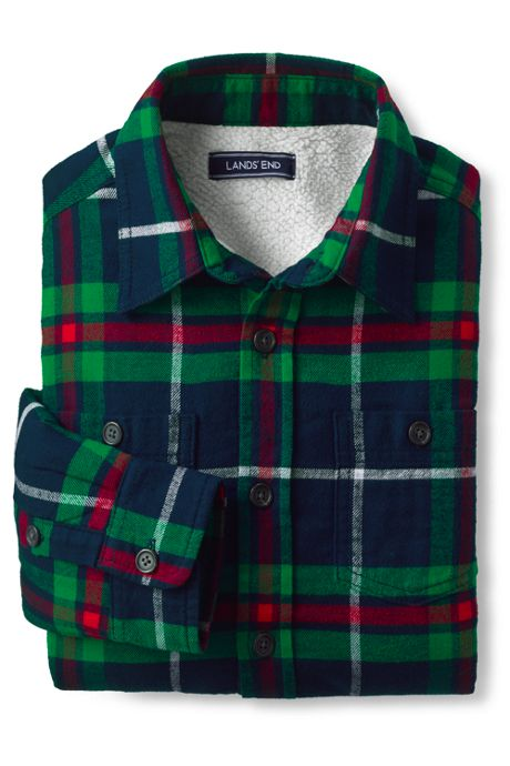 Boys Sherpa Lined Flannel Jacket