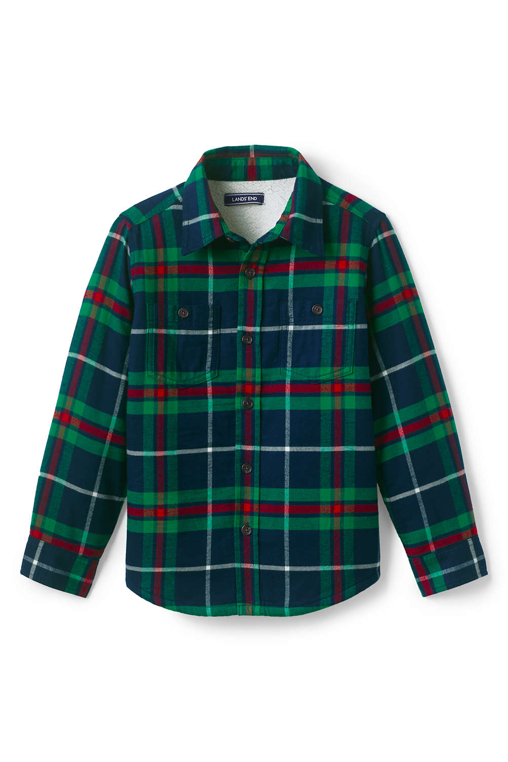 a624569a9 Boys Sherpa Lined Flannel Jacket from Lands' End