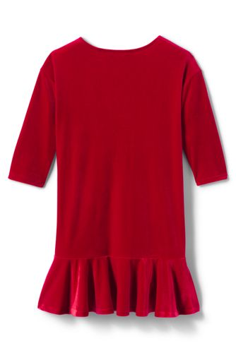 Girls Plus Size Drop Waist Velveteen Dress