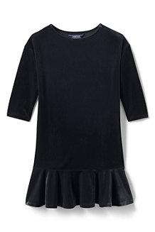Samtkleid mit Volantsaum für Mädchen