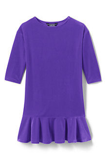 Girls' Drop Waist Velveteen Dress
