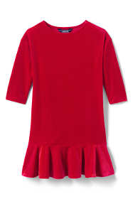 Little Girls Drop Waist Velveteen Dress
