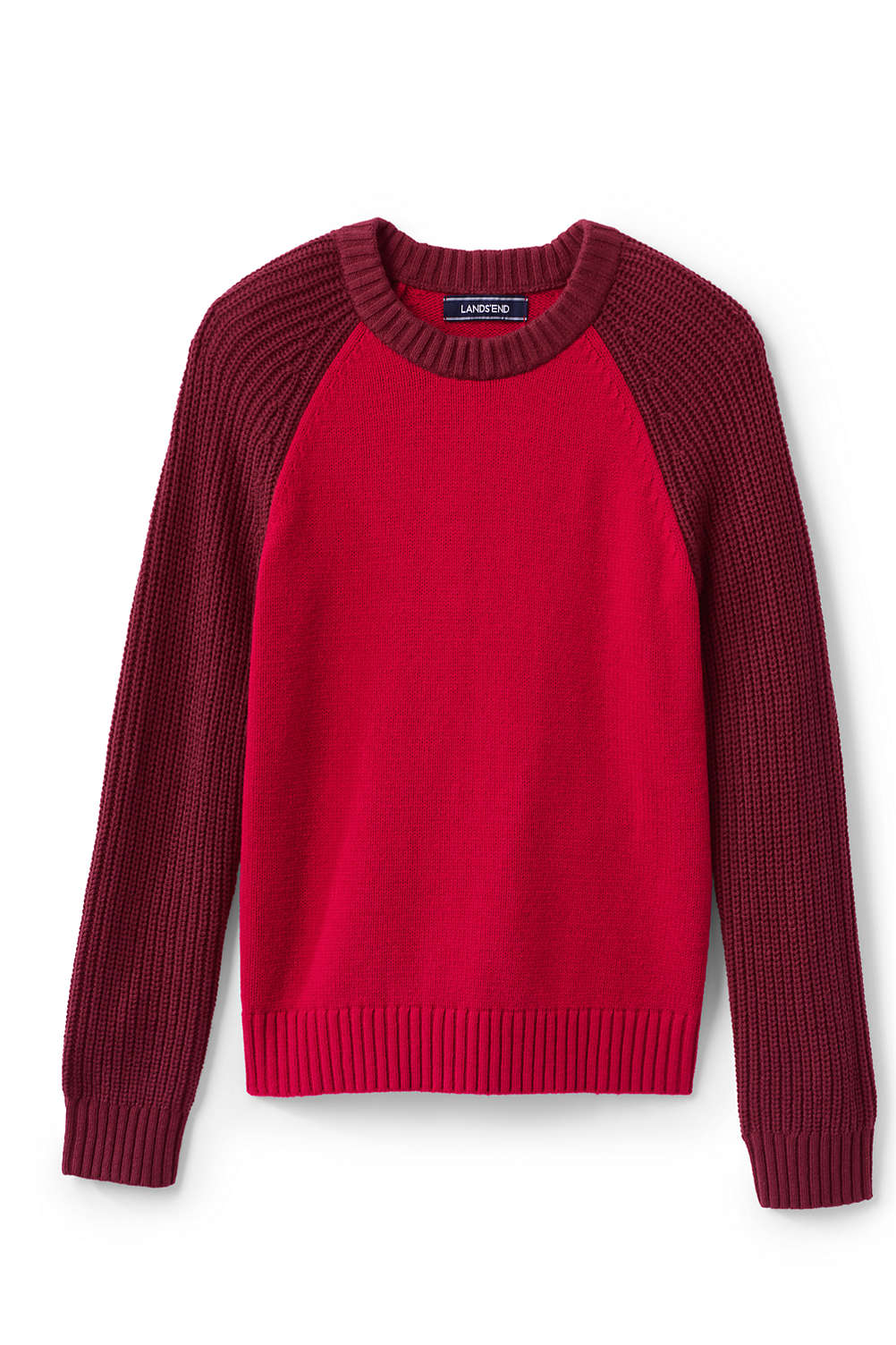 9e128bab460b Boys Crewneck Fisherman Sweater from Lands  End