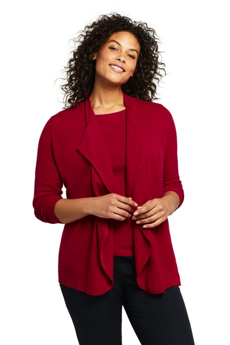 Women's Plus Size Cashmere Waterfall Cardigan Sweater