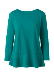 Women's Plus Size 3/4 Sleeve Ponte Peplum Top