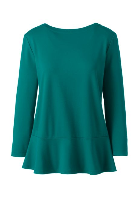 Women's Plus Size 3/4 Sleeve Ponte Peplum Top