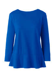 Women's Petite 3/4 Sleeve Ponte Peplum Top