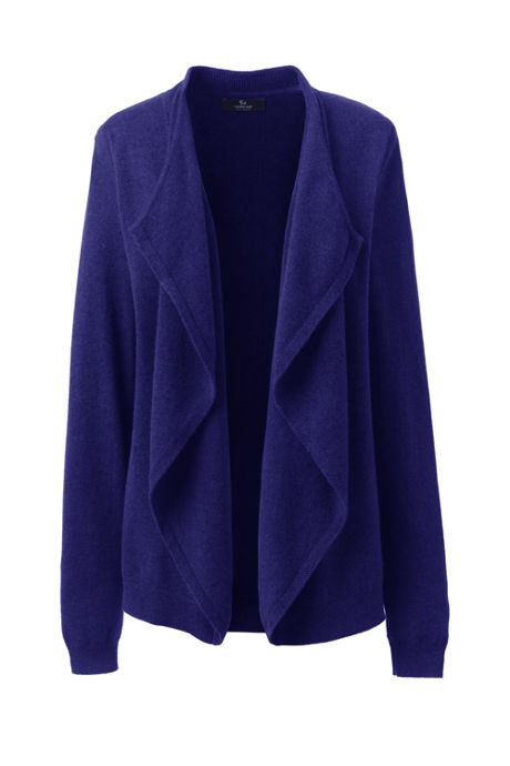 Women's Petite Cashmere Waterfall Cardigan Sweater