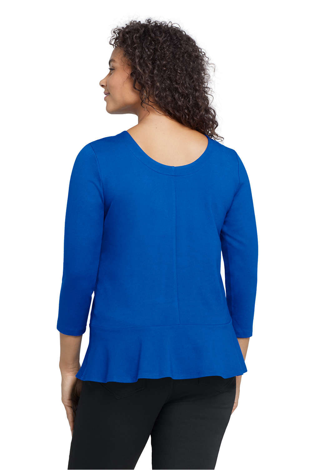79aa9e15ee8 Women s Plus Size 3 4 Sleeve Ponte Peplum Top from Lands  End