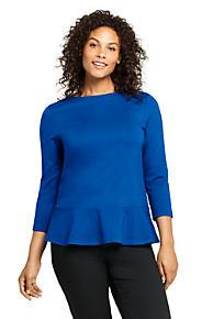 510b0643ec4b8 Women s Plus Size 3 4 Sleeve Ponte Peplum Top