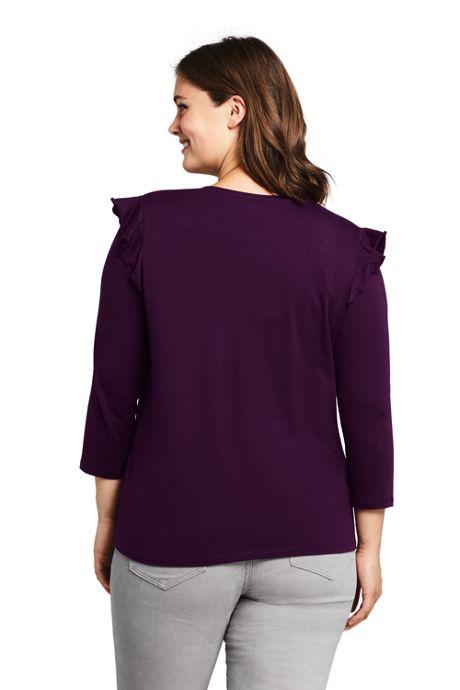 Women's Plus Size 3/4 Sleeve Ruffle Shoulder Top