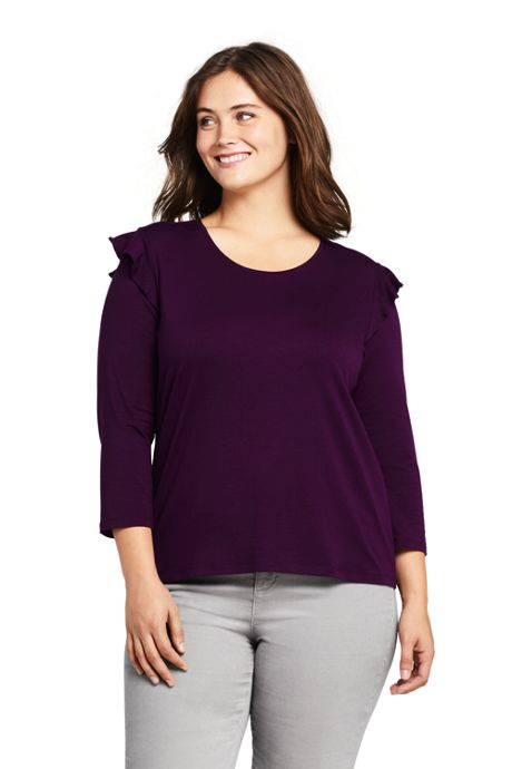 Women's Plus Size 3/4 Sleeve Ruffle Shoulder Top