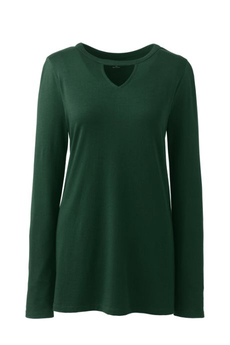 Women's Petite Long Sleeve Cut Out Tunic