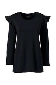 Women's 3/4 Sleeve Ruffle Shoulder Top