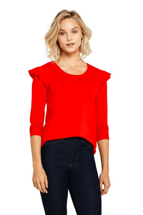 Women's Petite 3/4 Sleeve Ruffle Shoulder Top