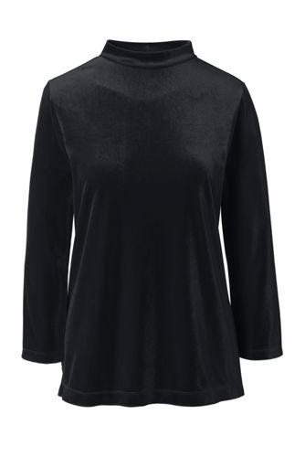 Women's Petite Velvet Long Sleeve Top