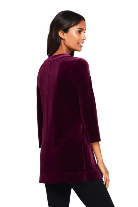 Women's Petite 3/4 Sleeve Velvet Tunic
