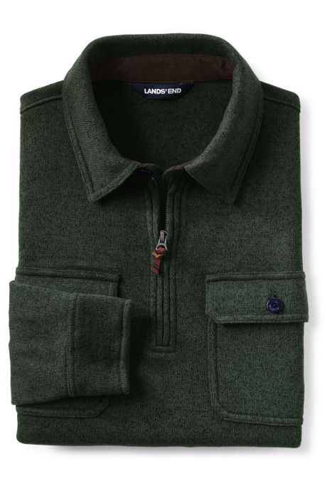 Men's Quarter Zip Sweater Fleece Polo