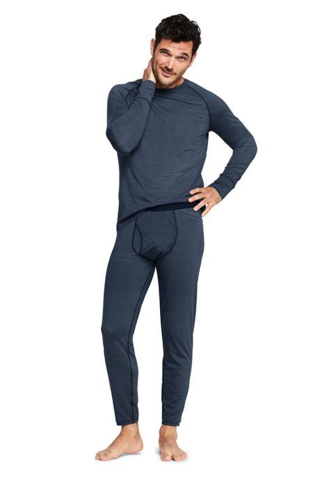 Men's Print Stretch Thermaskin Long Underwear Pants Base Layer