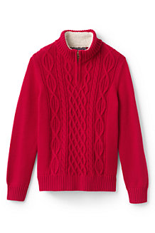 Boys' Zip-neck Cable Cotton Jumper