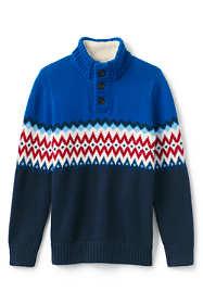 Little Boys Fairisle Button Mock Neck Sweater