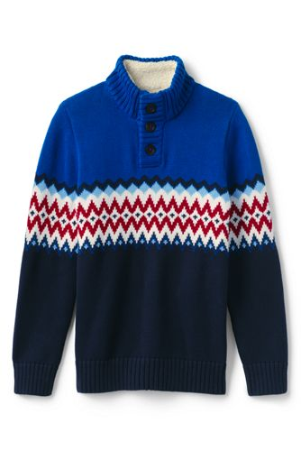 Boys' Button-neck Fair Isle Cotton Jumper