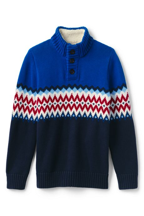 Boys Fairisle Button Mockneck Sweater