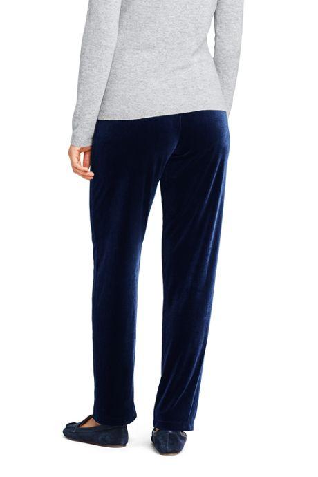 Women's Petite Sport Knit Elastic Waist Pants High Rise Velvet