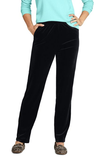 Women's Tall Sport Knit Elastic Waist Pants High Rise Velvet