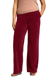 Women's Plus Size Sport Knit Corduroy Elastic Waist Wide Leg Pants High Rise