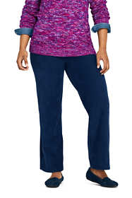 Women's Plus Size Sport Knit Corduroy Elastic Waist Wide Leg Pants High Rise