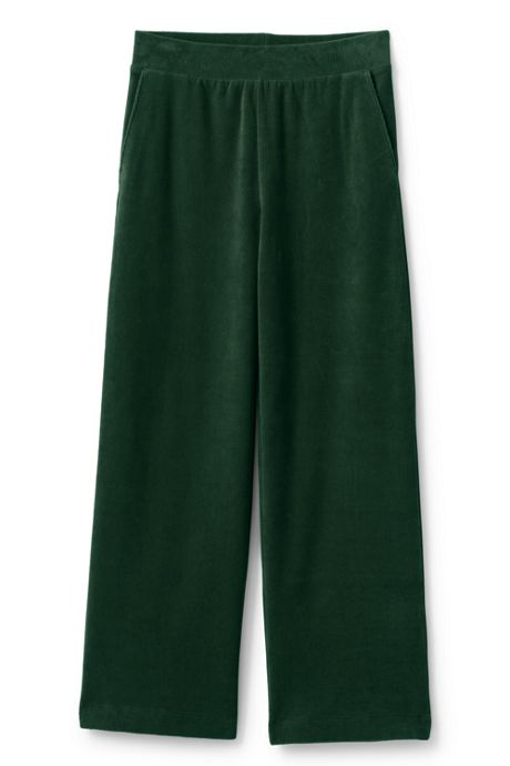 Women's Sport Knit Corduroy Elastic Waist Wide Leg Pants High Rise