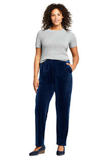 Women's Plus Size Sport Knit Elastic Waist Pants High Rise Velvet, Unknown