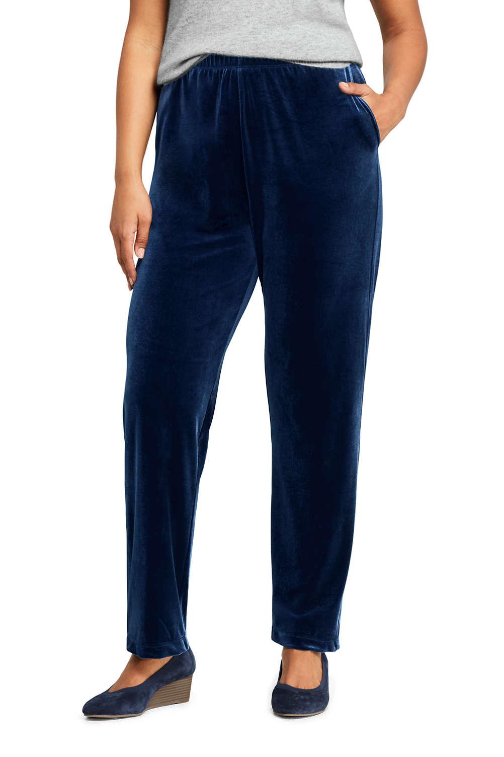 1f6f2256448de Women s Plus Size Petite Sport Knit Elastic Waist Pants High Rise Velvet
