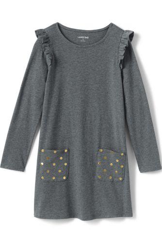 Rüschen-Kleid mit gepunkteten Taschen für große Mädchen