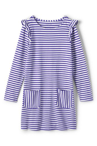 Girls' Striped Ruffle Shoulder Dress