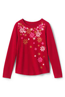 Girls Sparkle Snowflake Graphic Tee, Front