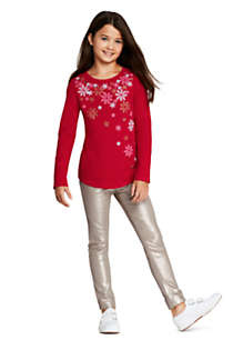 Girls Sparkle Snowflake Graphic Tee, alternative image