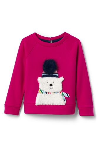 Toddler Girls' Fuzzy Polar Bear Sweatshirt