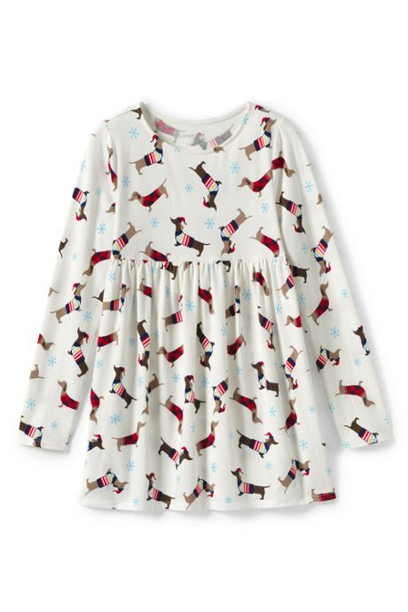 Little Girls Pattern Yoke Tunic Top
