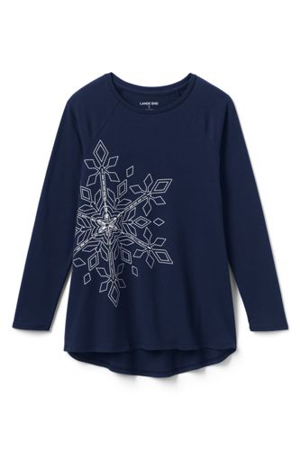 Girls' Shimmer Snowflake Tunic Top