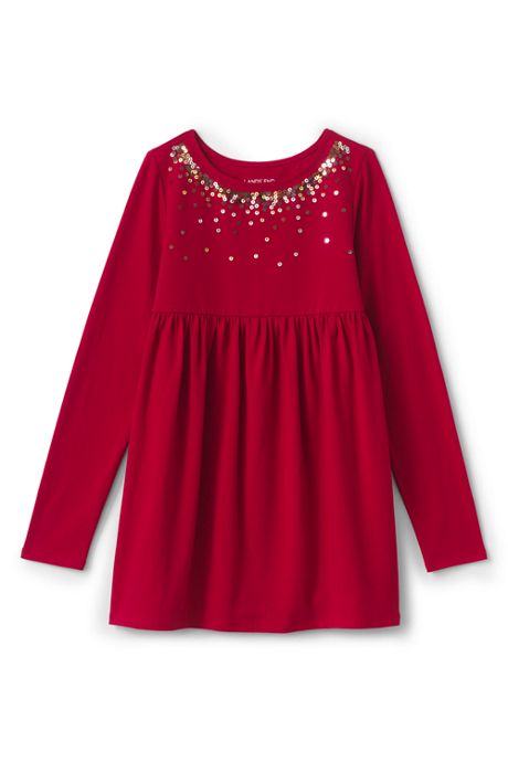 Little Girls Sequin Gathered Tunic Top