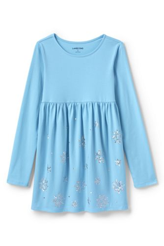 3b24059f5e8 Girls' Snowflake Gathered Yoke Tunic | Lands' End